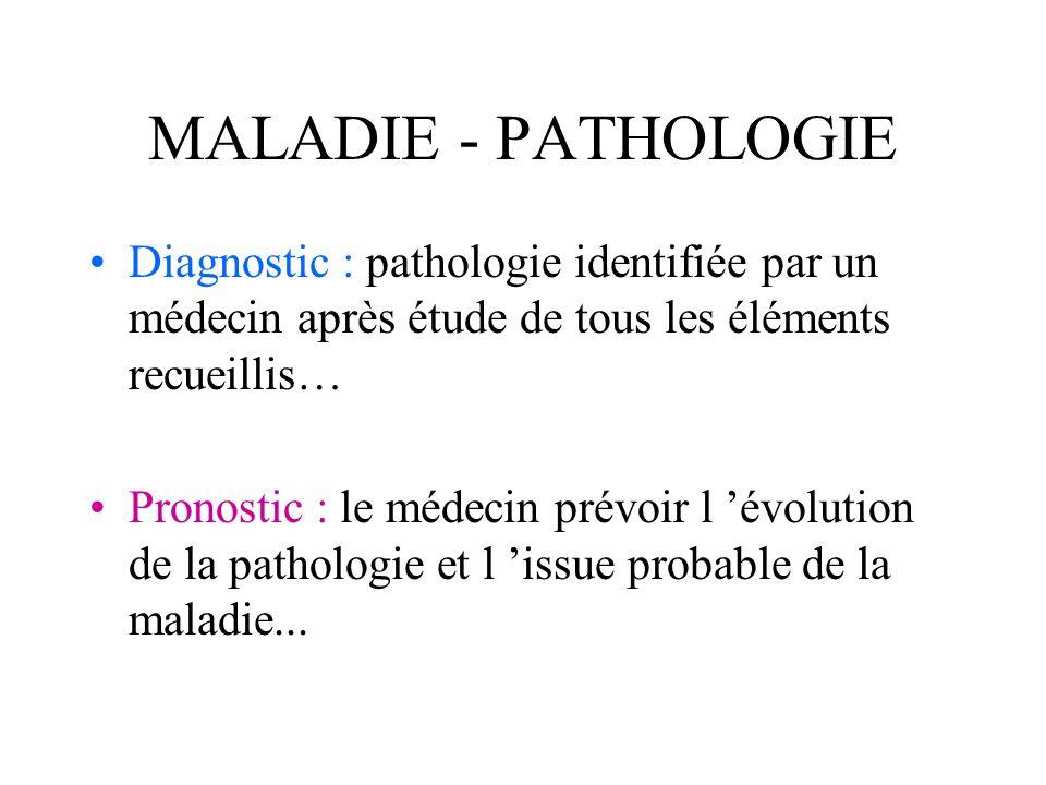 MALADIE - PATHOLOGIE Diagnostic : pathologie identifiée par un médecin après étude de tous les éléments recueillis… Pronostic : le médecin prévoir l é