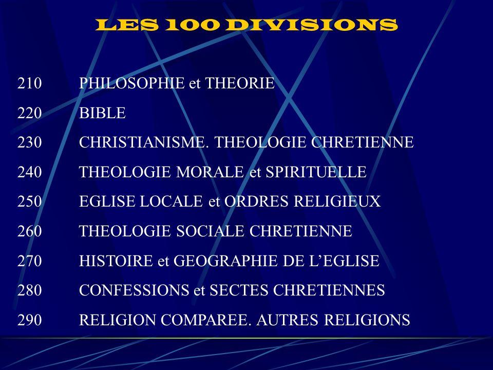 LES 100 DIVISIONS 210 PHILOSOPHIE et THEORIE 220 BIBLE 230 CHRISTIANISME.