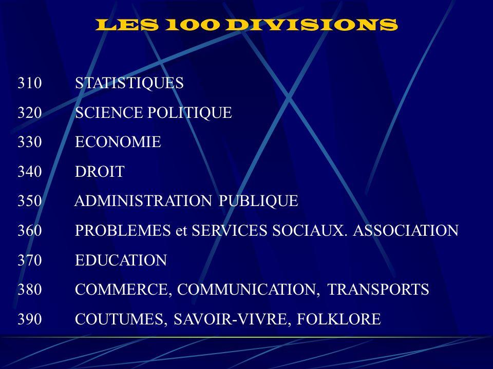 LES 100 DIVISIONS 310 STATISTIQUES 320 SCIENCE POLITIQUE 330 ECONOMIE 340 DROIT 350 ADMINISTRATION PUBLIQUE 360 PROBLEMES et SERVICES SOCIAUX.