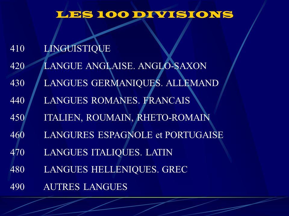 LES 100 DIVISIONS 410 LINGUISTIQUE 420 LANGUE ANGLAISE.