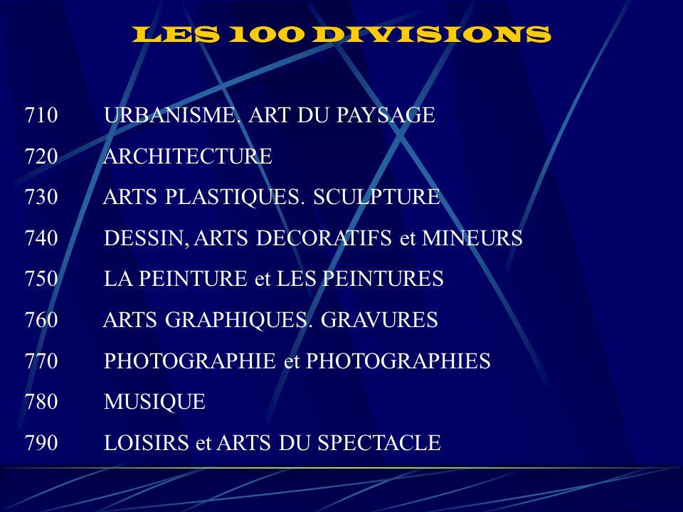 LES 100 DIVISIONS 710 URBANISME. ART DU PAYSAGE 720 ARCHITECTURE 730 ARTS PLASTIQUES.