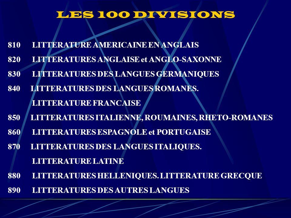 810 LITTERATURE AMERICAINE EN ANGLAIS 820 LITTERATURES ANGLAISE et ANGLO-SAXONNE 830 LITTERATURES DES LANGUES GERMANIQUES 840 LITTERATURES DES LANGUES ROMANES.