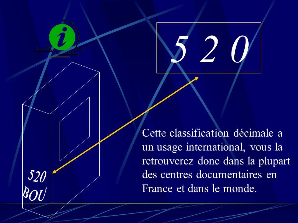 5 2 0 Cette classification décimale a un usage international, vous la retrouverez donc dans la plupart des centres documentaires en France et dans le monde.