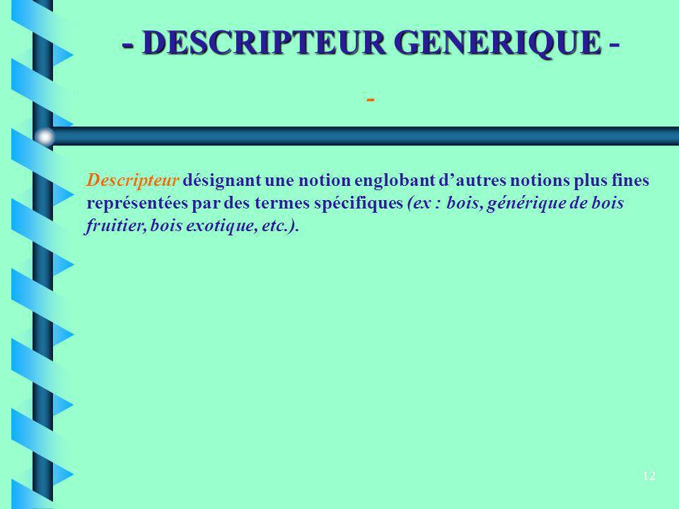 12 - DESCRIPTEUR GENERIQUE - DESCRIPTEUR GENERIQUE - Descripteur désignant une notion englobant dautres notions plus fines représentées par des termes