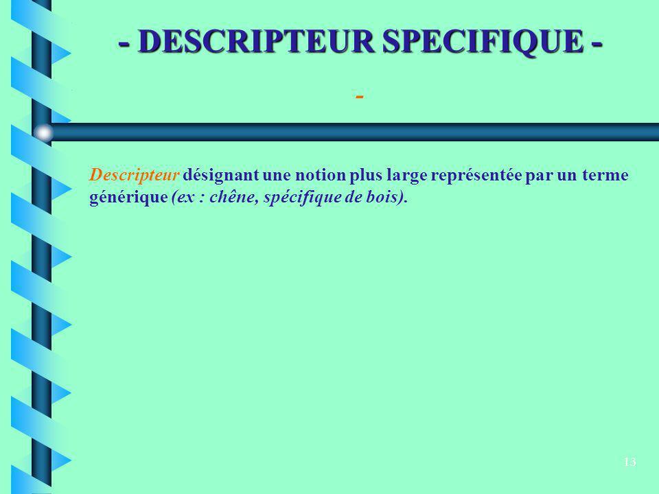 13 - DESCRIPTEUR SPECIFIQUE - Descripteur désignant une notion plus large représentée par un terme générique (ex : chêne, spécifique de bois). -