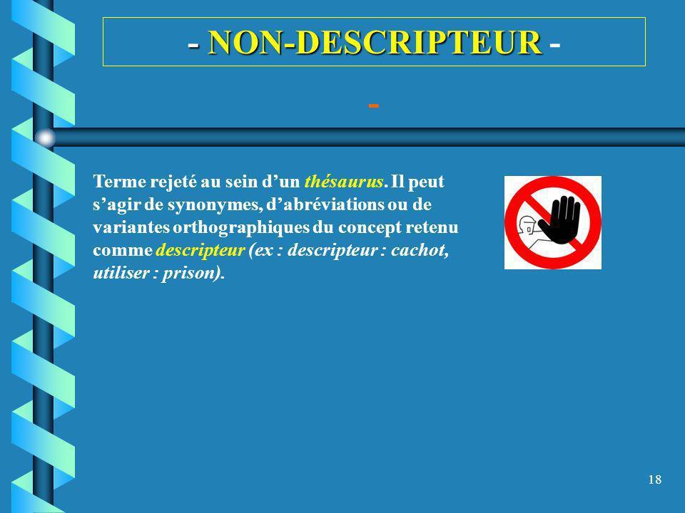18 - NON-DESCRIPTEUR - NON-DESCRIPTEUR - - Terme rejeté au sein dun thésaurus. Il peut sagir de synonymes, dabréviations ou de variantes orthographiqu