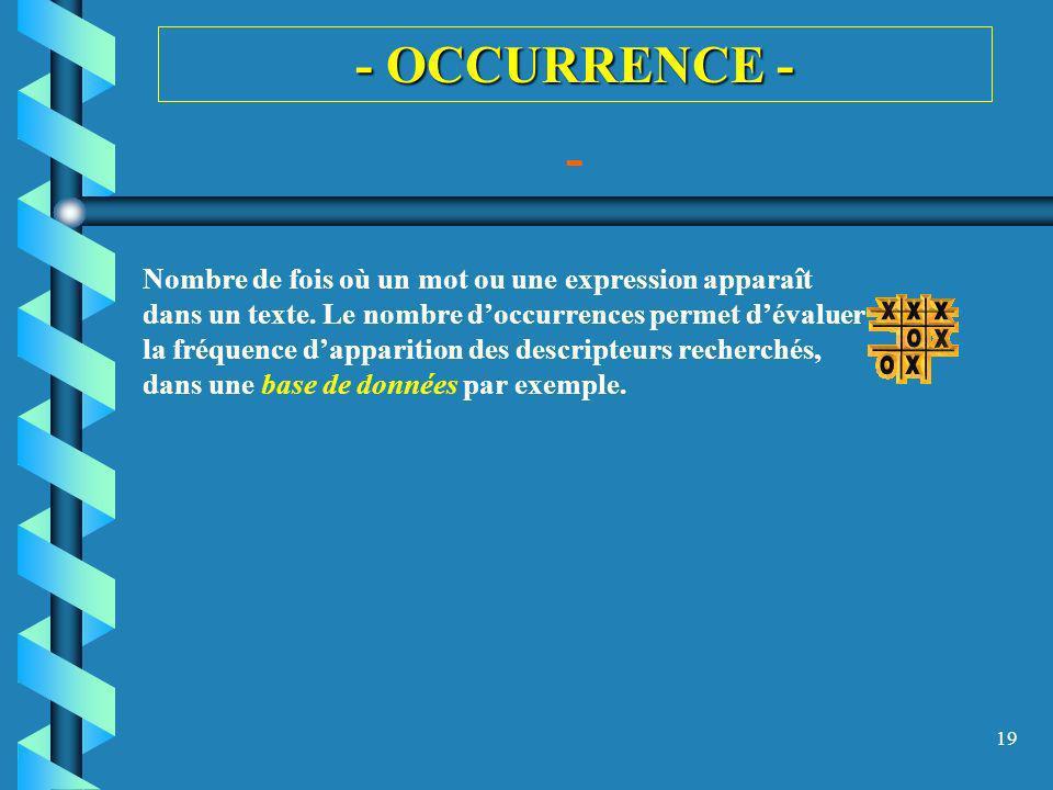 19 - OCCURRENCE - - Nombre de fois où un mot ou une expression apparaît dans un texte. Le nombre doccurrences permet dévaluer la fréquence dapparition