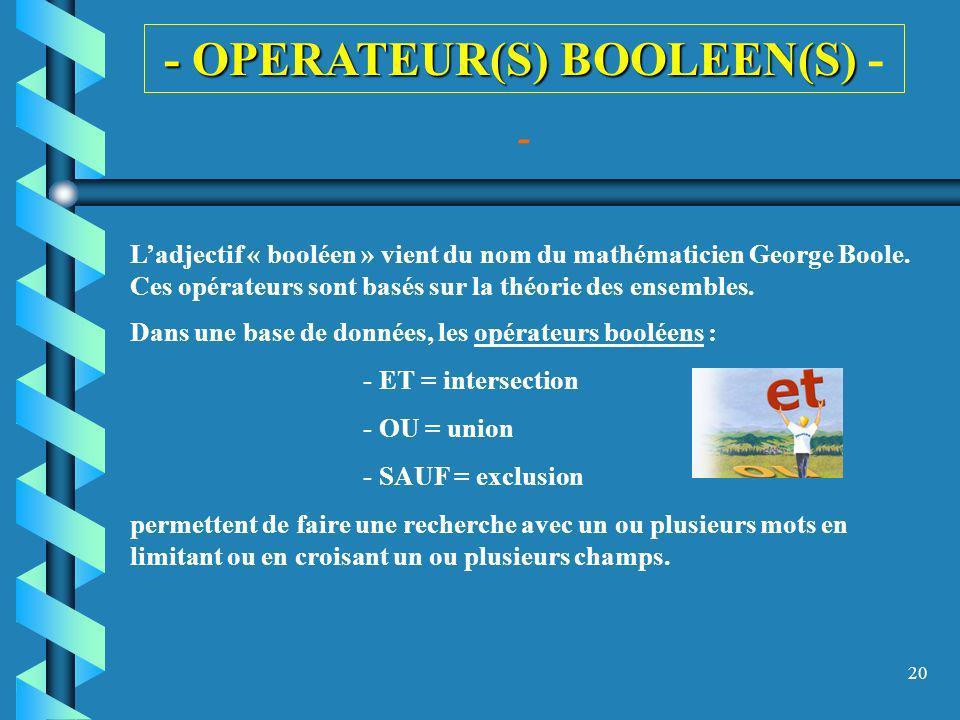20 - OPERATEUR(S) BOOLEEN(S) - OPERATEUR(S) BOOLEEN(S) - Ladjectif « booléen » vient du nom du mathématicien George Boole. Ces opérateurs sont basés s
