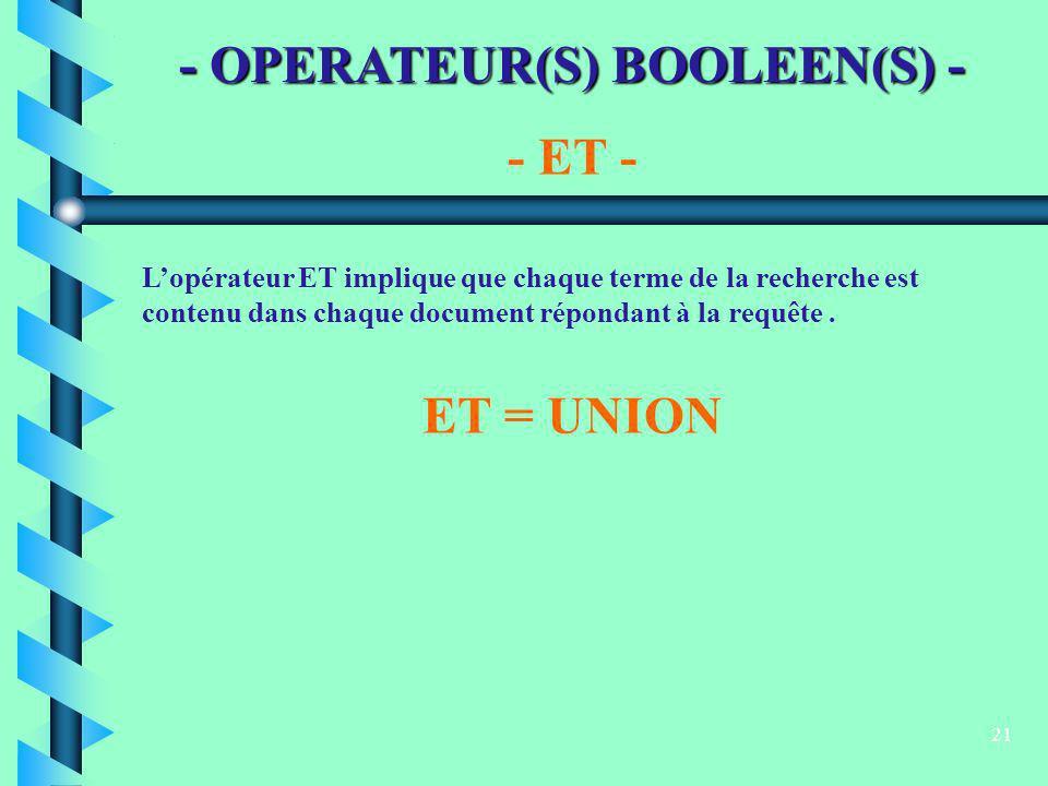 21 - OPERATEUR(S) BOOLEEN(S) - Lopérateur ET implique que chaque terme de la recherche est contenu dans chaque document répondant à la requête. - ET -