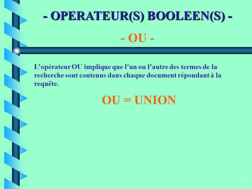 22 - OPERATEUR(S) BOOLEEN(S) - - OU - Lopérateur OU implique que lun ou lautre des termes de la recherche sont contenus dans chaque document répondant