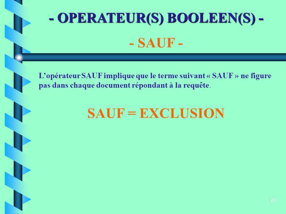23 - OPERATEUR(S) BOOLEEN(S) - - SAUF - Lopérateur SAUF implique que le terme suivant « SAUF » ne figure pas dans chaque document répondant à la requê