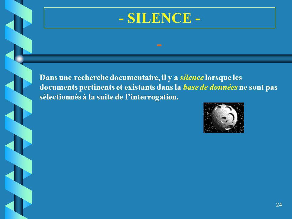 24 - SILENCE - - Dans une recherche documentaire, il y a silence lorsque les documents pertinents et existants dans la base de données ne sont pas sél