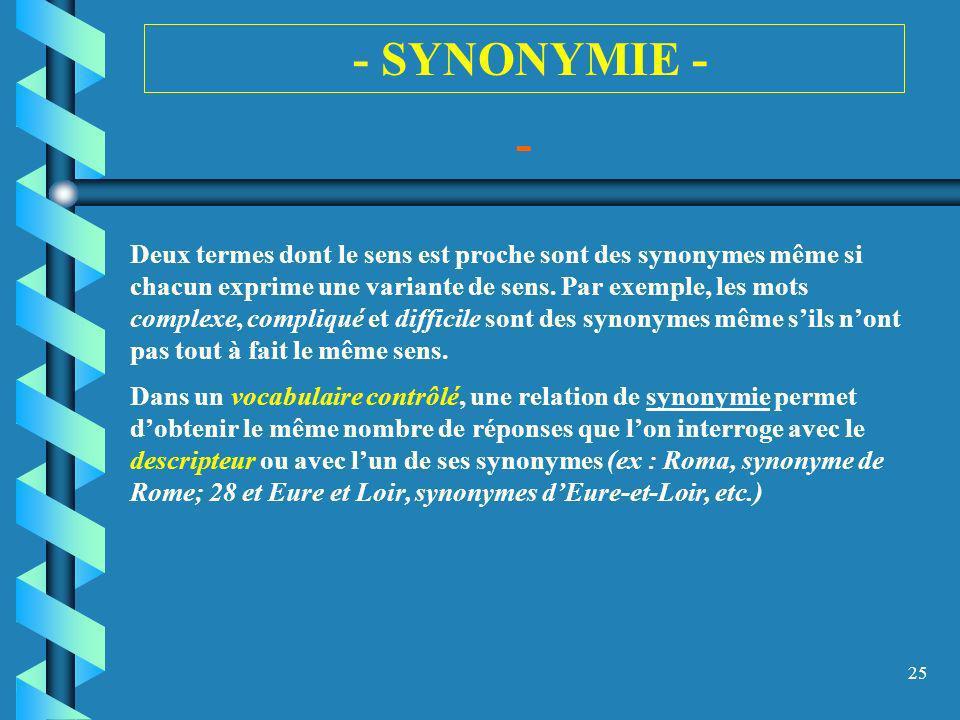 25 - SYNONYMIE - - Deux termes dont le sens est proche sont des synonymes même si chacun exprime une variante de sens. Par exemple, les mots complexe,