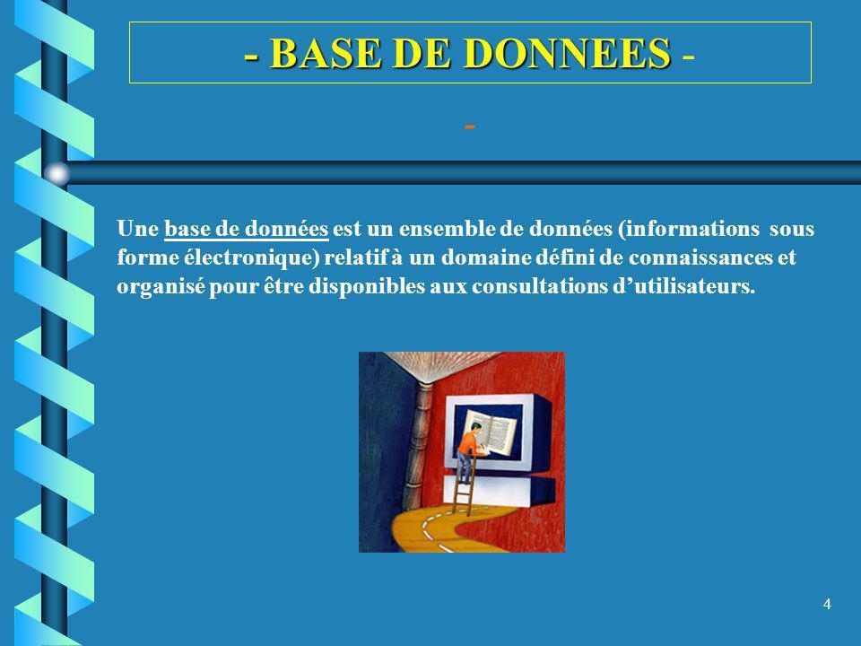 5 - BASE DE DONNEES - BASE DE DONNEES - - Une base de données, généralement appelée BD (en anglais DB pour database) est un ensemble structuré et organisé permettant le stockage de grandes quantités dinformations afin den faciliter lexploitation (ajout, mise à jour, recherche de données).