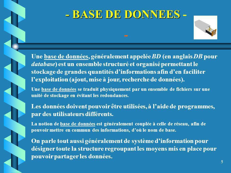 5 - BASE DE DONNEES - BASE DE DONNEES - - Une base de données, généralement appelée BD (en anglais DB pour database) est un ensemble structuré et orga