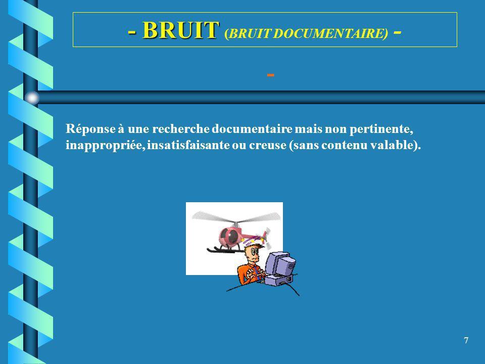 7 - BRUIT - BRUIT (BRUIT DOCUMENTAIRE) - - Réponse à une recherche documentaire mais non pertinente, inappropriée, insatisfaisante ou creuse (sans con