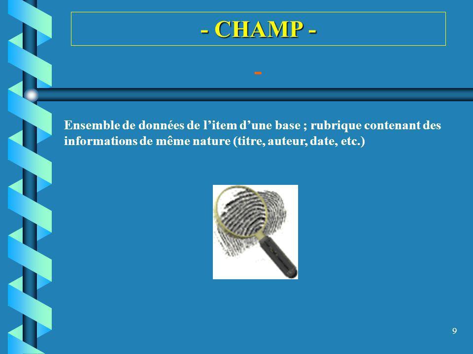9 - CHAMP - - Ensemble de données de litem dune base ; rubrique contenant des informations de même nature (titre, auteur, date, etc.)