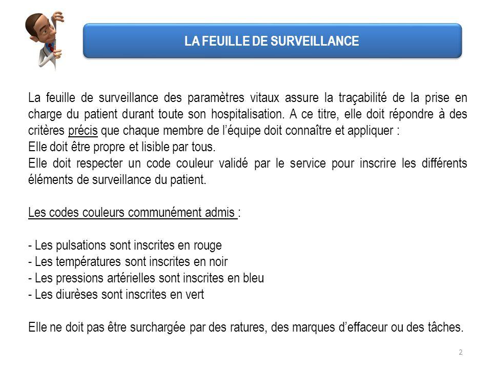 2 La feuille de surveillance des paramètres vitaux assure la traçabilité de la prise en charge du patient durant toute son hospitalisation. A ce titre