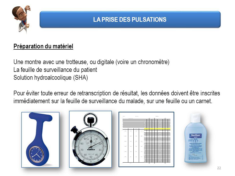 22 Préparation du matériel Une montre avec une trotteuse, ou digitale (voire un chronomètre) La feuille de surveillance du patient Solution hydroalcoo