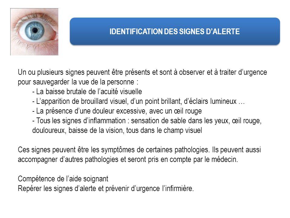 IDENTIFICATION DES SIGNES DALERTE Un ou plusieurs signes peuvent être présents et sont à observer et à traiter durgence pour sauvegarder la vue de la