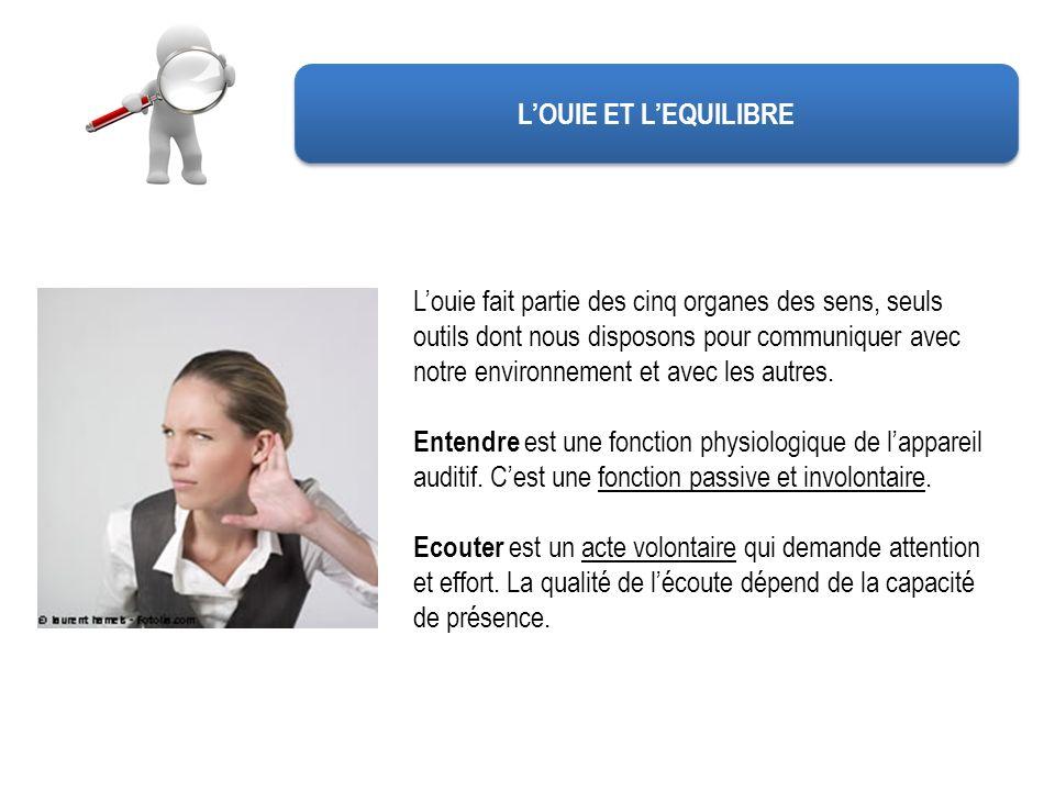 LOUIE ET LEQUILIBRE Louie fait partie des cinq organes des sens, seuls outils dont nous disposons pour communiquer avec notre environnement et avec le
