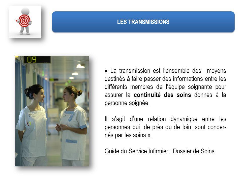« La transmission est lensemble des moyens destinés à faire passer des informations entre les différents membres de léquipe soignante pour assurer la