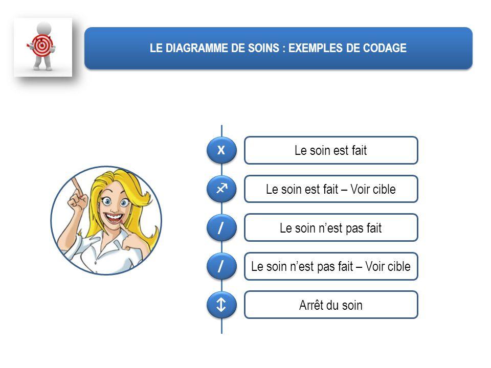 LE DIAGRAMME DE SOINS : EXEMPLES DE CODAGE X X Le soin est fait Le soin est fait – Voir cible / / Le soin nest pas fait / / Le soin nest pas fait – Vo