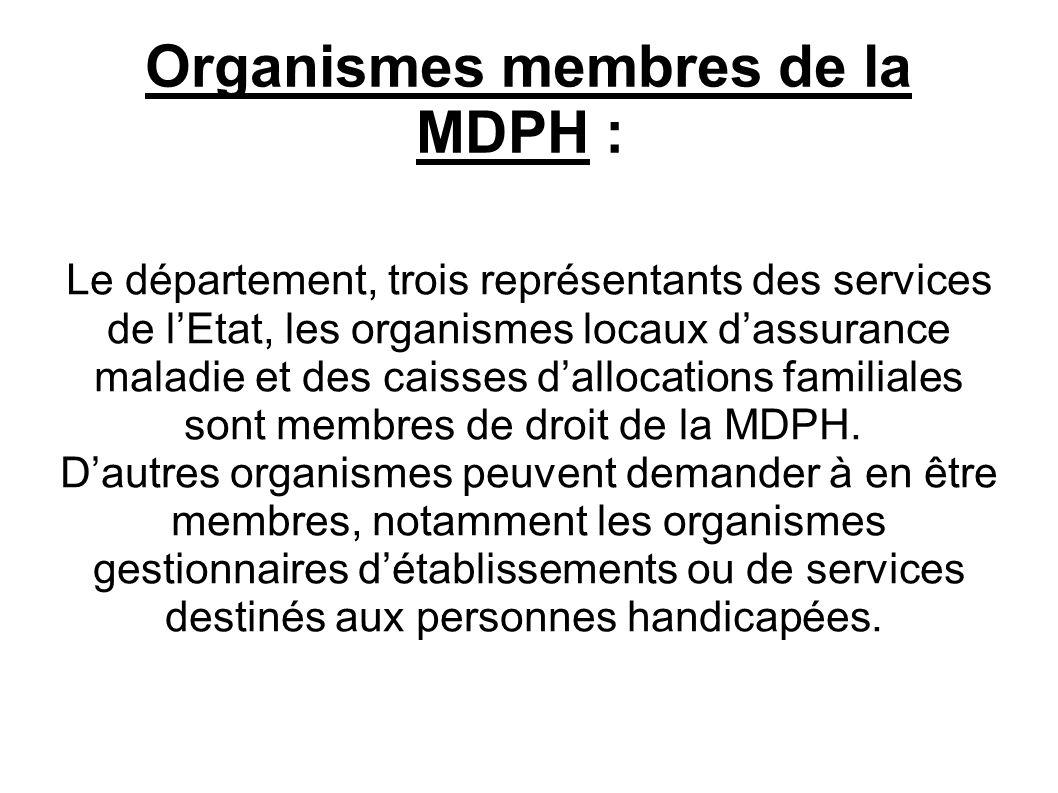 Dépôt des dossiers intéressant la personne handicapée : Elle reçoit le dépôt de toutes les demandes de droits ou prestations qui relèvent de la compétence de la commission des droits et de lautonomie des personnes handicapées (CDAPH).