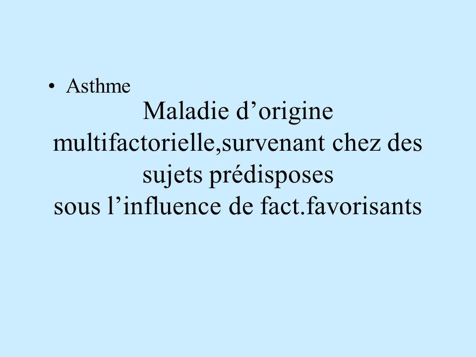 Maladie dorigine multifactorielle,survenant chez des sujets prédisposes sous linfluence de fact.favorisants Asthme