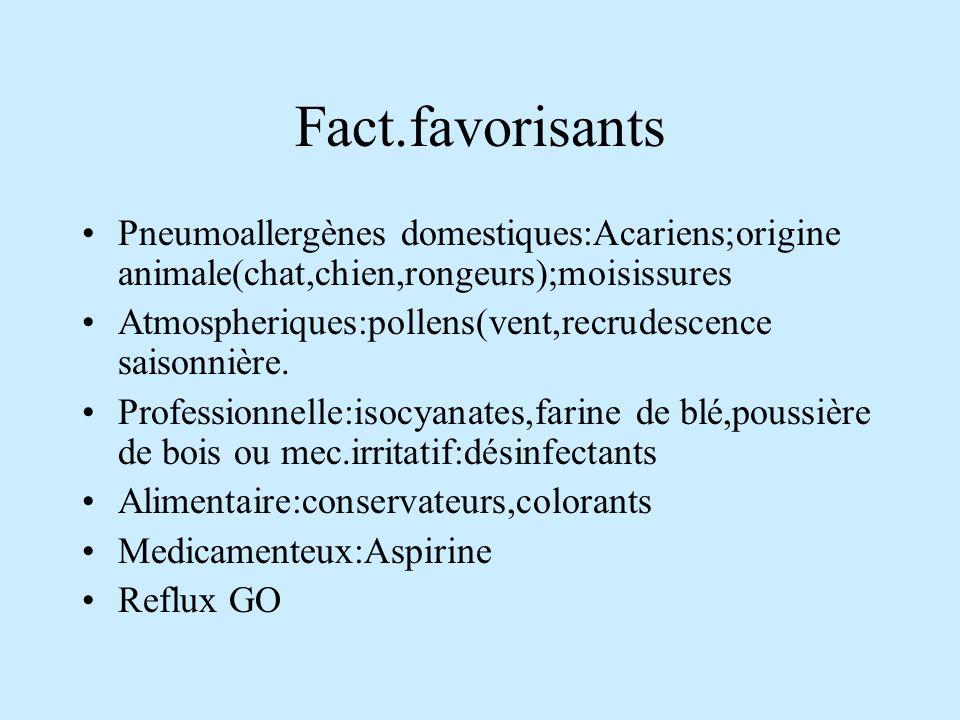 Fact.favorisants Pneumoallergènes domestiques:Acariens;origine animale(chat,chien,rongeurs);moisissures Atmospheriques:pollens(vent,recrudescence saisonnière.
