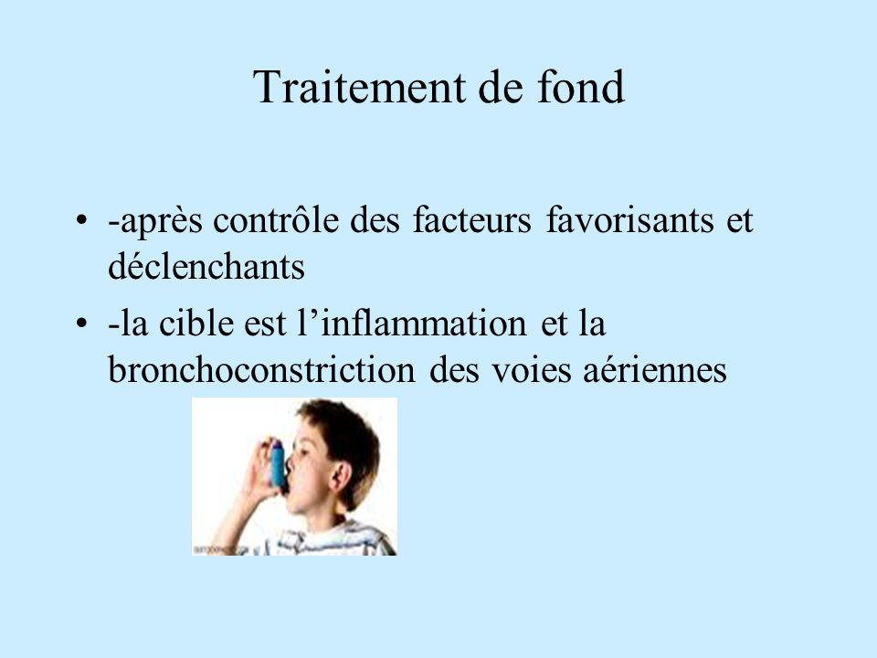 Traitement de fond -après contrôle des facteurs favorisants et déclenchants -la cible est linflammation et la bronchoconstriction des voies aériennes