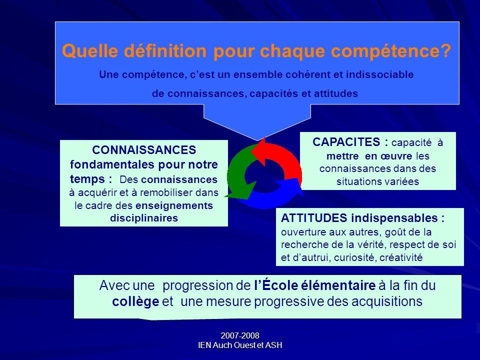 2007-2008 IEN Auch Ouest et ASH Quelle définition pour chaque compétence? Une compétence, cest un ensemble cohérent et indissociable de connaissances,