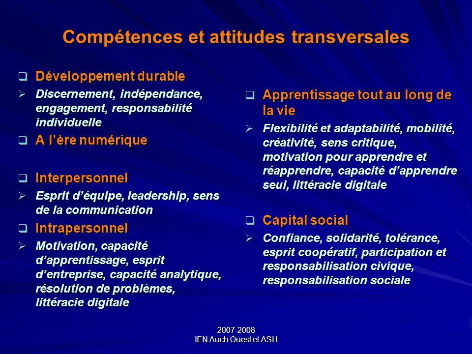 2007-2008 IEN Auch Ouest et ASH Compétences et attitudes transversales Développement durable Développement durable Discernement, indépendance, engagem