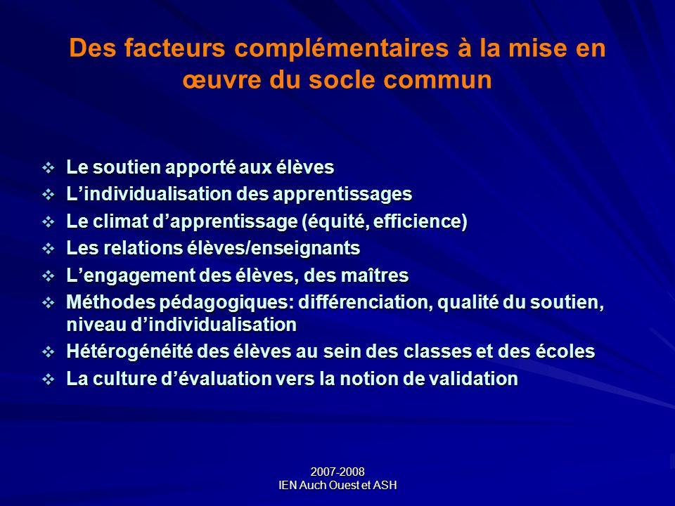 2007-2008 IEN Auch Ouest et ASH Des facteurs complémentaires à la mise en œuvre du socle commun Le soutien apporté aux élèves Le soutien apporté aux é