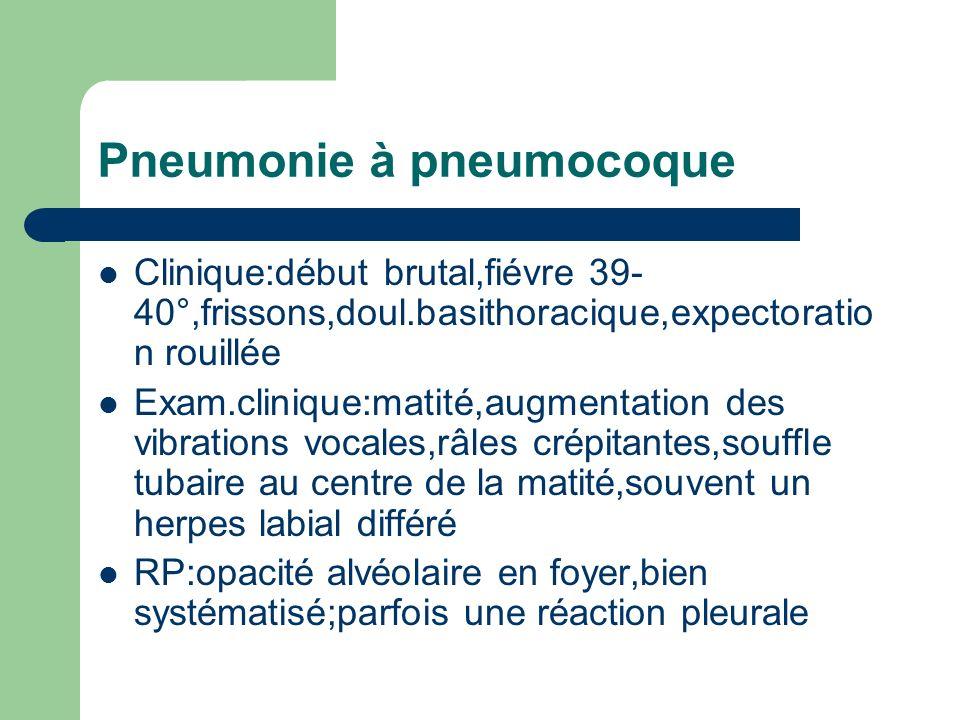 Pneumonie à pneumocoque Clinique:début brutal,fiévre 39- 40°,frissons,doul.basithoracique,expectoratio n rouillée Exam.clinique:matité,augmentation de