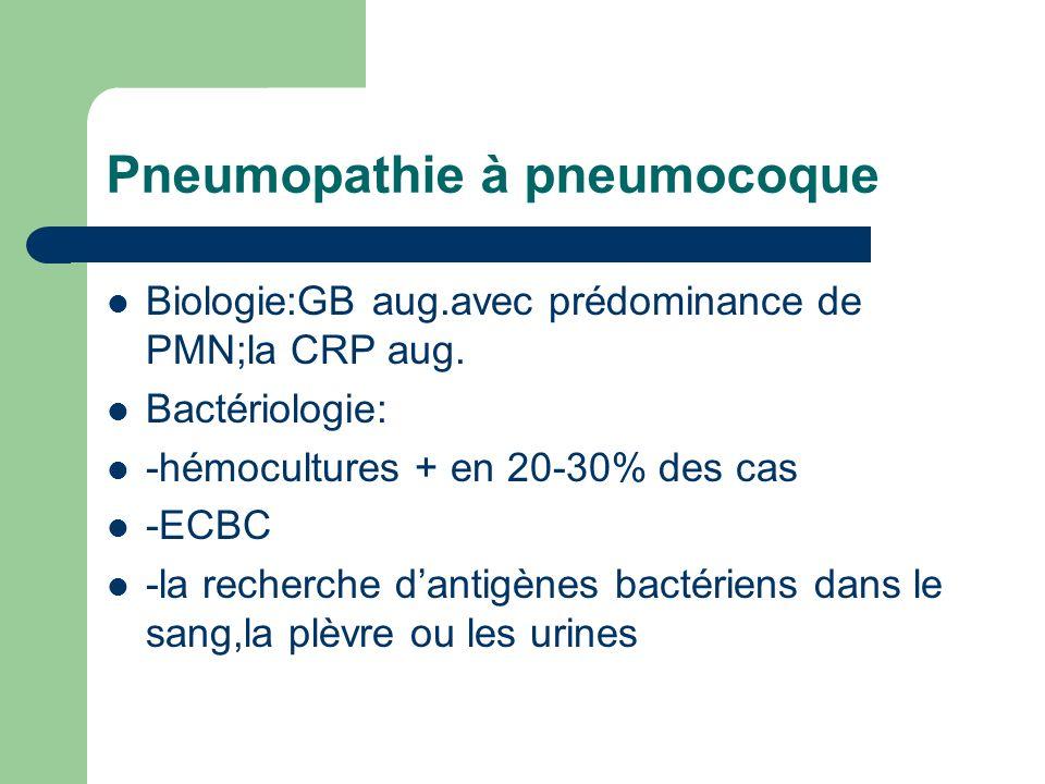 Pneumopathie à pneumocoque Biologie:GB aug.avec prédominance de PMN;la CRP aug. Bactériologie: -hémocultures + en 20-30% des cas -ECBC -la recherche d
