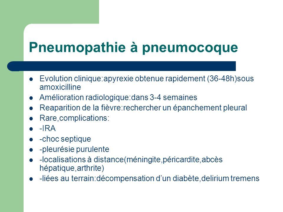 Pneumopathie à pneumocoque Evolution clinique:apyrexie obtenue rapidement (36-48h)sous amoxicilline Amélioration radiologique:dans 3-4 semaines Reapar