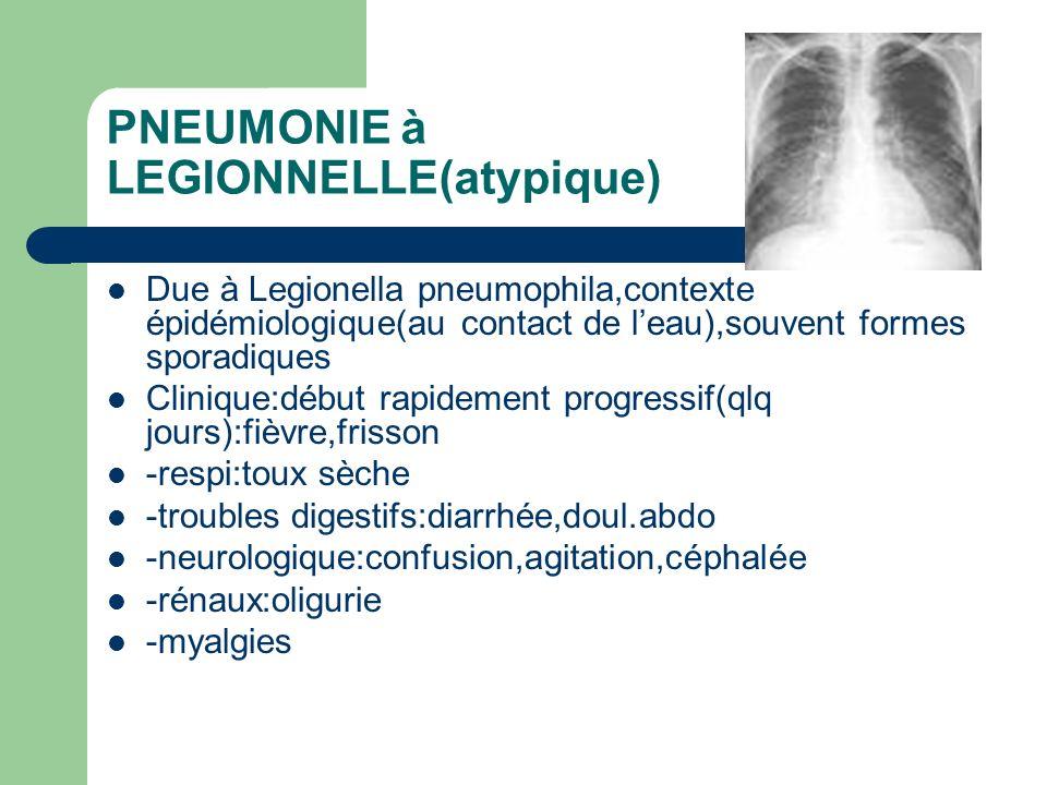 PNEUMONIE à LEGIONNELLE(atypique) Due à Legionella pneumophila,contexte épidémiologique(au contact de leau),souvent formes sporadiques Clinique:début