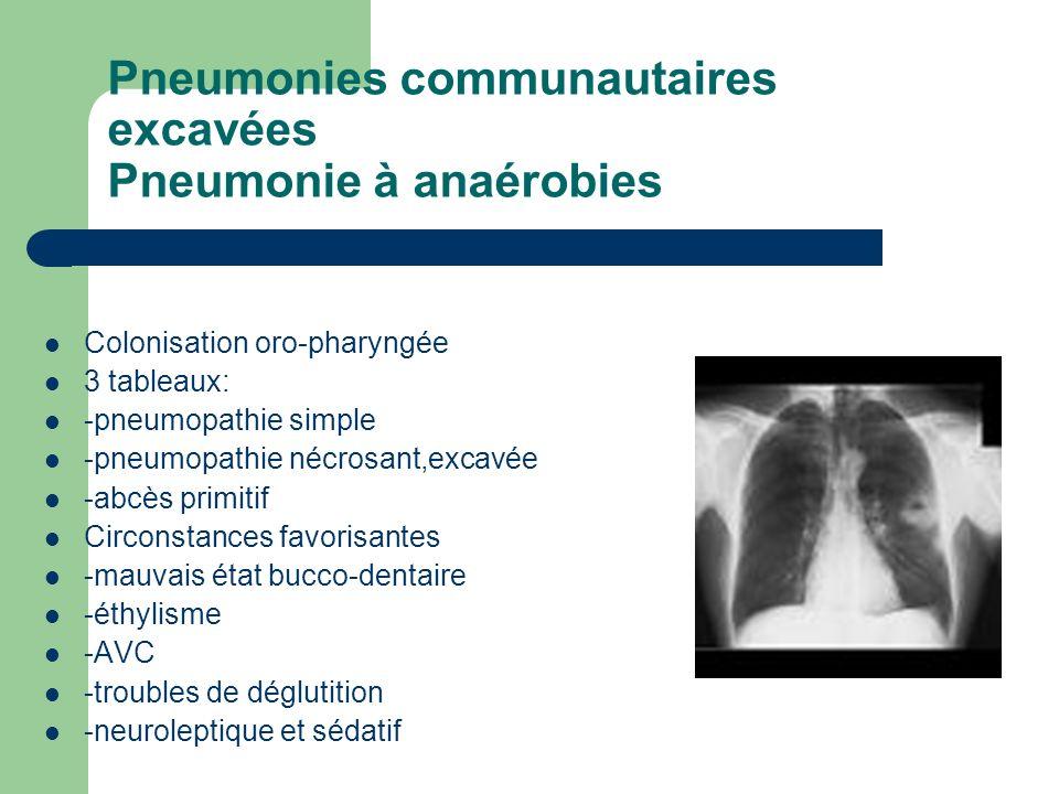 Pneumonies communautaires excavées Pneumonie à anaérobies Colonisation oro-pharyngée 3 tableaux: -pneumopathie simple -pneumopathie nécrosant,excavée