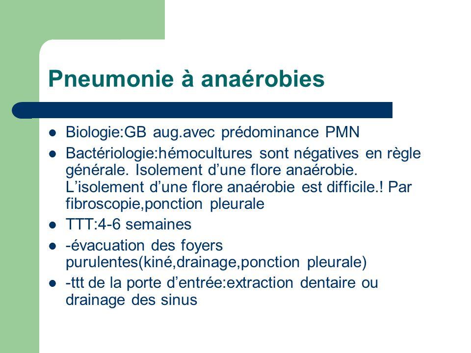 Pneumonie à anaérobies Biologie:GB aug.avec prédominance PMN Bactériologie:hémocultures sont négatives en règle générale. Isolement dune flore anaérob