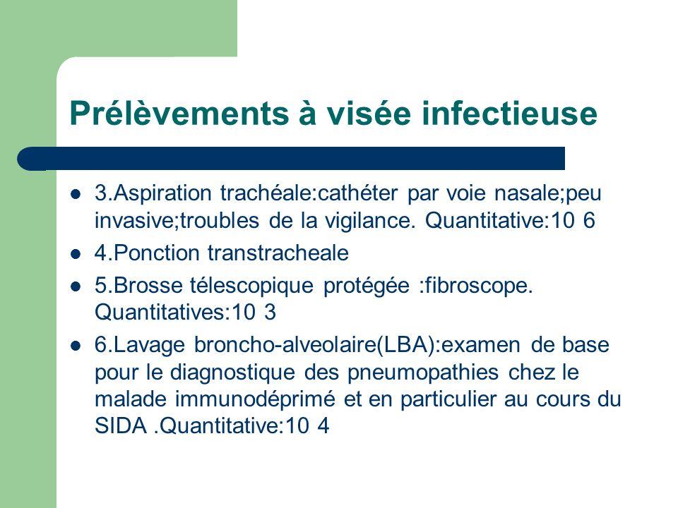 Prélèvements à visée infectieuse 3.Aspiration trachéale:cathéter par voie nasale;peu invasive;troubles de la vigilance. Quantitative:10 6 4.Ponction t