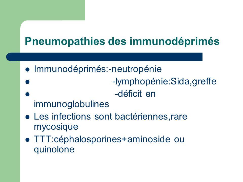 Pneumopathies des immunodéprimés Immunodéprimés:-neutropénie -lymphopénie:Sida,greffe -déficit en immunoglobulines Les infections sont bactériennes,ra