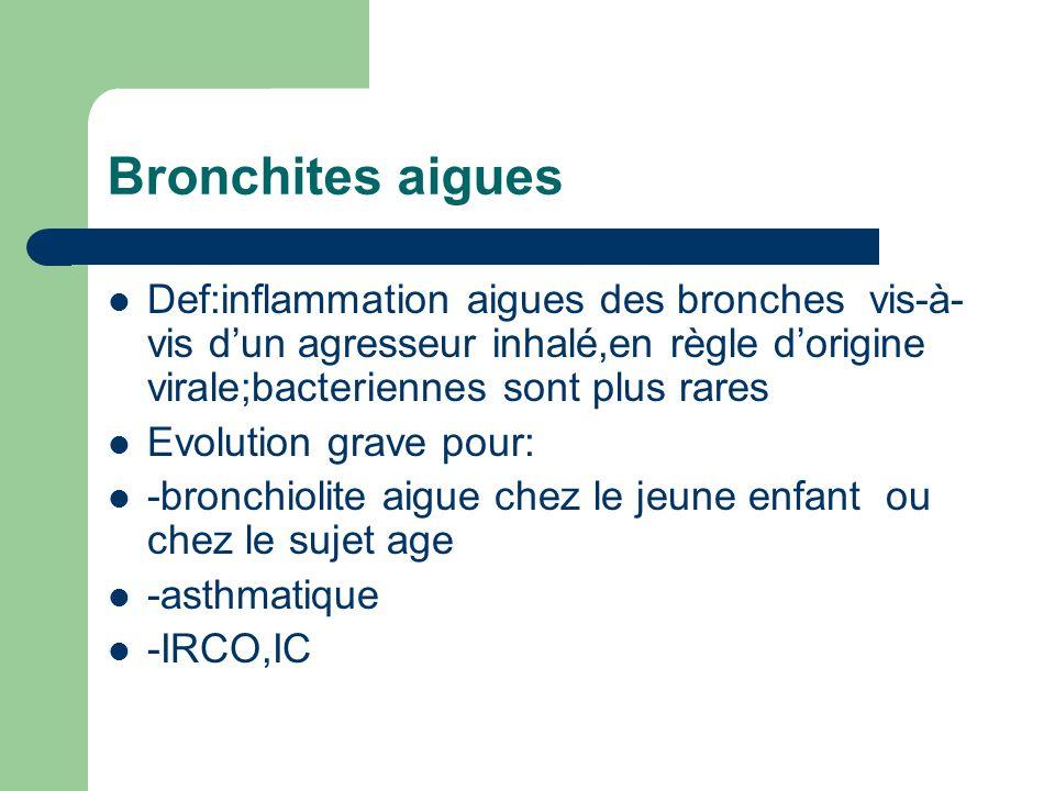 Bronchites aigues Def:inflammation aigues des bronches vis-à- vis dun agresseur inhalé,en règle dorigine virale;bacteriennes sont plus rares Evolution