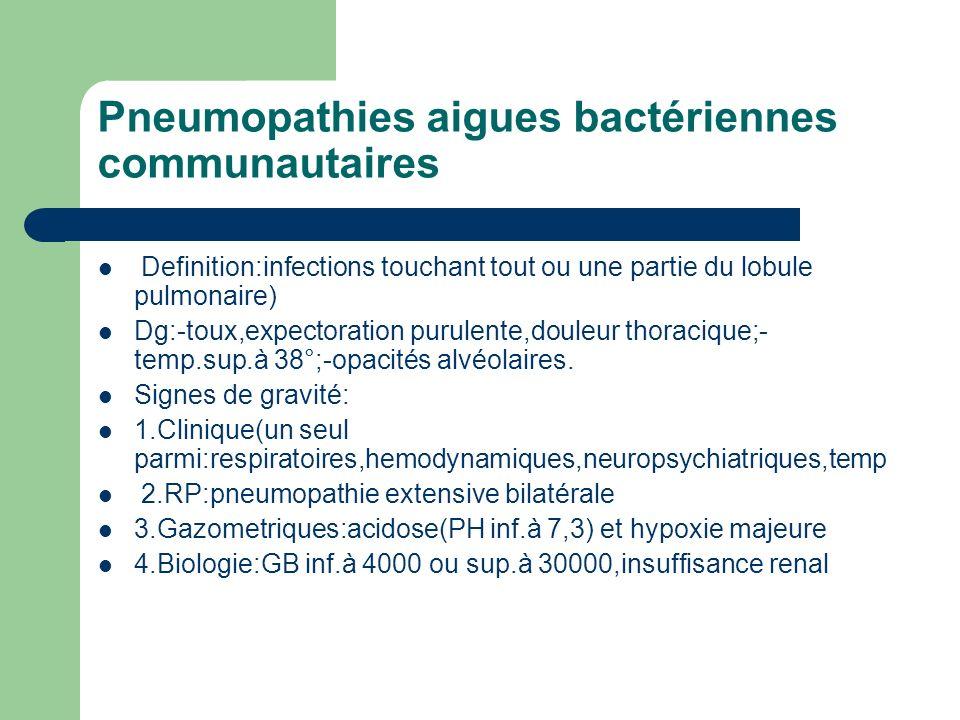 Pneumopathies aigues bactériennes communautaires Definition:infections touchant tout ou une partie du lobule pulmonaire) Dg:-toux,expectoration purule