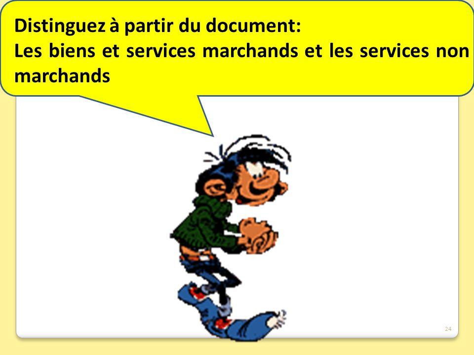 Distinguez à partir du document: Les biens et services marchands et les services non marchands 24