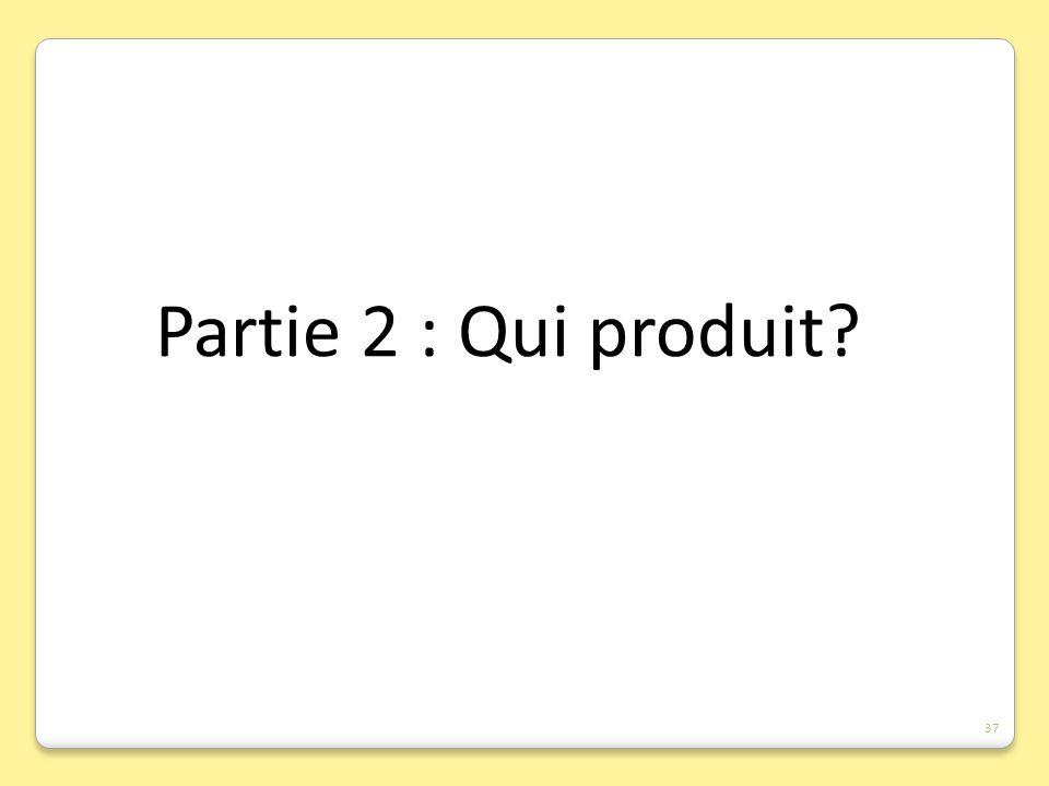 Partie 2 : Qui produit? 37