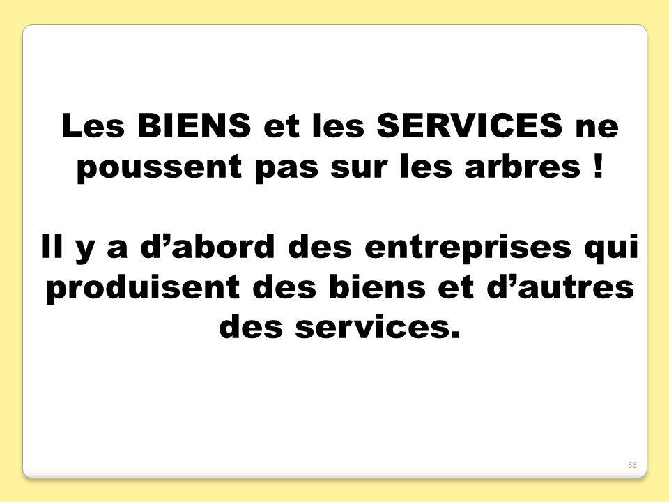 Les BIENS et les SERVICES ne poussent pas sur les arbres ! Il y a dabord des entreprises qui produisent des biens et dautres des services. 38