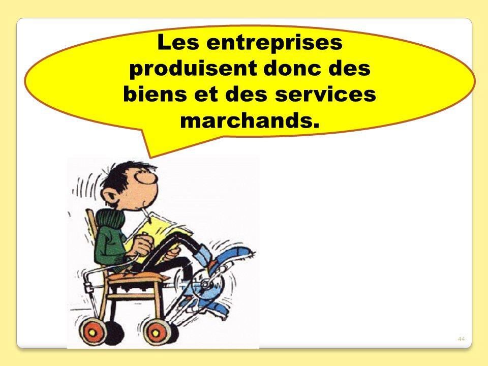Les entreprises produisent donc des biens et des services marchands. 44