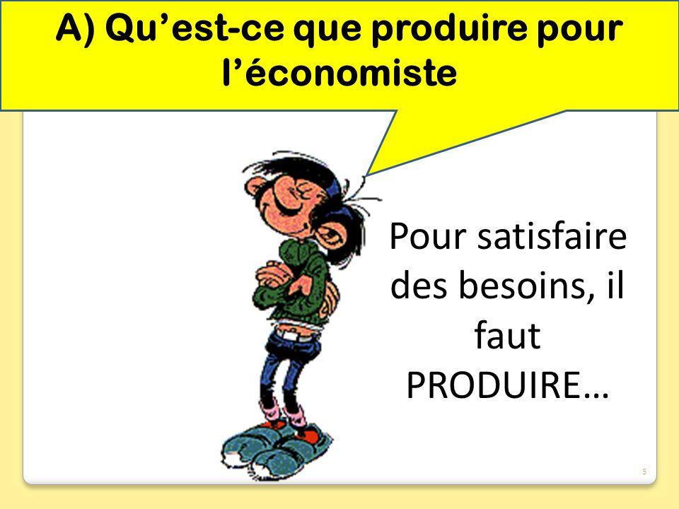 A) Quest-ce que produire pour léconomiste Pour satisfaire des besoins, il faut PRODUIRE… 5