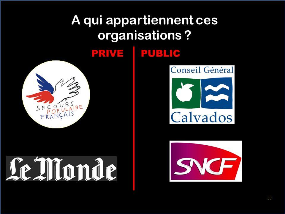 A qui appartiennent ces organisations ? PUBLICPRIVE 53